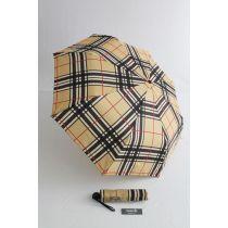 Happy Rain karierter Automatik Regenschirm camel Taschenschirm