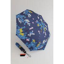 Pierre Cardin gebümter Regenschirm für Damen Fleurette 03 blau