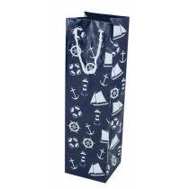 **10 Stück- Maritim- Edle Glanz-Geschenktaschen- Beutel- lackiert- ideal für Flaschen H 23 cm