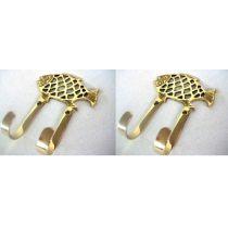 **2 Stück- Fisch- doppelter Wandhaken- Schlüsselhaken- aus massiv Messing incl. Schrauben