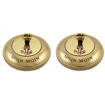 **2 Stück- Klappascher- Taschenaschenbecher- Messing mit Gravur MOIN