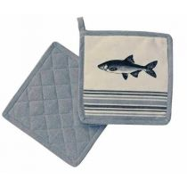 **2 Stück- Maritim- Fisch- Topflappen 20x 20 cm, gute Wärmeisolierung