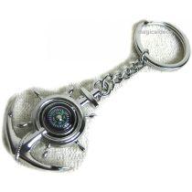 2 Stück- Schlüsselanhänger/Ring - Messing, vernickelt - Kompass im Anker