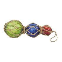 **3 Fischerkugeln im Netz- Durchm. 7,5- 12,5 cm- L 36 cm