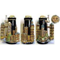 3D-Relief Bierkrug-London- Tower, Big Ben mit Windsor Casle Deckel -German Beer Stein