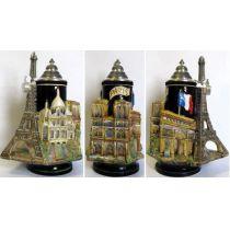 3D-Relief Bierkrug-Paris- Eifelturm,Kathetrale,Sacr©-Cœur Montmartre,Triumphbogen -German Beer Stein