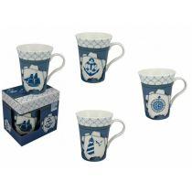 **4er Set- Porzellan- Große Tasse, Kaffeepott, Becher- in dekorativer Geschenkebox
