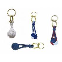 **4X Schlüsselanhänger- Zierknoten, Wurfknoten mit Schäkel/Schlüsselring- Baumwolle, Messing