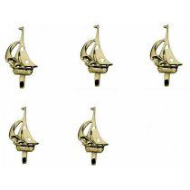 **5 Stück- Segler- kleine Wandhaken- Schlüsselhaken- aus massiv Messing