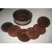 **6 Untersetzer ´+ Aufbewahrungsbehälter mit Tauwerk- Holz