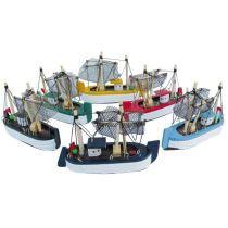 **6er Set- Krabbenkutter- Boot- Schiff- Schiffsmodelle- Holz - je 10 cm