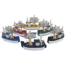 **6er Set- Krabbenkutter- Boot- Schiff- Schiffsmodelle- Holz