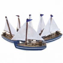 **6er Set Segelboote - Schiffsmodelle Holz je 10 cm
