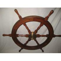 **75 cm Steuerrad aus Holz und Messingnabe