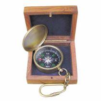 **Anhänger Kompass  4,5 cm mit Klappdeckel in Holzschatulle