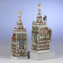 Aufwendiger 3D-Relief Bierkrug - Rathaus München- German Beer Mug - Feinsteinzeug, Zinndeckel