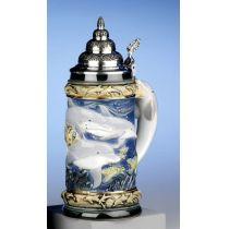 Aufwendiger Relief Bierseidel -Delphine-German Beer Stein,Beer Mug-Feinsteinzeug mit Zinndeckel