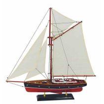 **Dekorative Yacht, Segelschiff, Schiffsmodell Segelyacht aus Holz mit Stoffsegeln