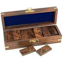 Domino in Holzbox mit Messingintarsien