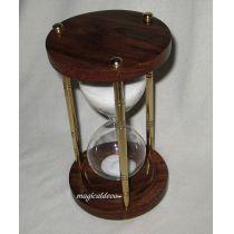 **Edle Sanduhr Stundenglas Holz/Messingsäulen 15 min Höhe 15 cm