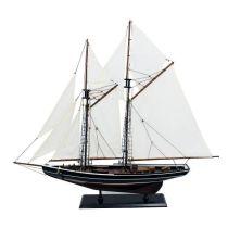 **Edle Yacht, Segelschiff, Schiffsmodel Segelboot Holz 75 cm- Stoffsegel, Holz