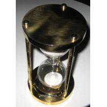 **Edle, massive Sanduhr Stundenglas  3 min Höhe 12,5 cm, Messing