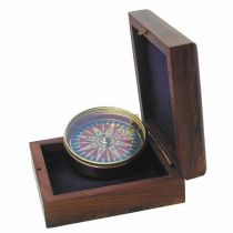 **Edler Kompass  5 cm mit Windrosenblatt  in Holzschatulle
