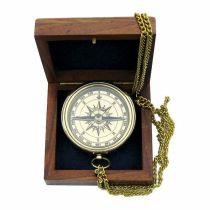 **Edler Kompass  6 cm mit Kette und Ankergravur  in Holzschatulle
