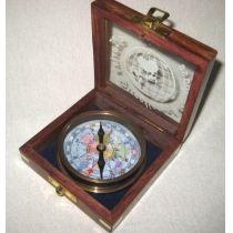 **Edler Kompass - Alt- Messing- anlaufgeschützt in dekorativer Holzschatulle mit Glasdeckel