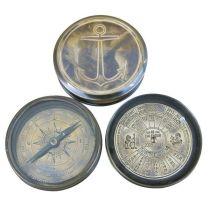 **Edler Marine Kompass mit Dauerkalender - Antiklook- 7,5 cm-kein polieren
