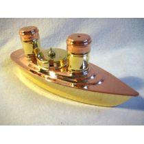 **Excl. Set-Salz/Pfeffer/Senf aus Messing/Kupfer-Glaseinsatz- in Dampferform 20 cm