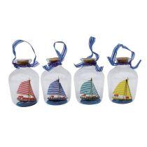 **Flaschenschiff- Buddelschiff- Set 4 Buddelschiffe zum Aufhängen-