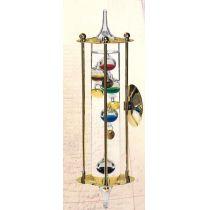 **Galileo Thermometer mit Metallgehäuse- vergoldet - Made Germany- mit Wandhalterung