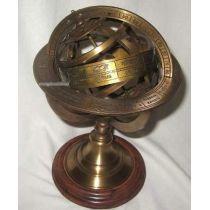 **Globus-Armillarsphäre aus Alt-Messing auf Holzsockel- 21,5 cm,  14 cm- sehr EDEL