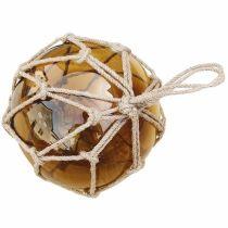 ** GROSSE Fischerkugel im Netz 15 cm- Amber (braun)