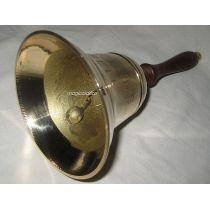 **Handglocke Messing mit Prägung CAPTAIN S BELL mit Holzgriff - H 12,5 cm