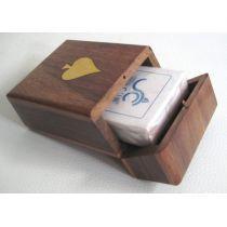 Klappbox aus Holz/Messing mit Kartenspiel
