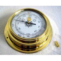 **Kleines, leichtes Barometer in Bullaugenform aus Messing- Durchmesser 10 cm