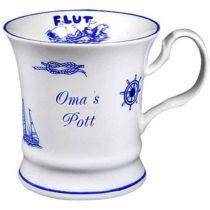 Maritim Porzellan- Tasse, Kaffeepott, Becher- Oma s Pott+ Innendruck Ebbe/Flut -deutsches Produktdes