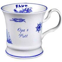 Maritim Porzellan- Tasse, Kaffeepott, Becher- Opa s Pott+ Innendruck Ebbe/Flut