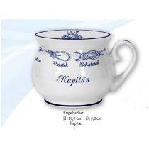 Maritim Porzellan- Tasse, Kaffeepott, Kugelbecher- Kapitän- Innendruck Ebbe und Flut