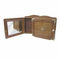 Maritimer Schlüsselkasten mit Glasfront- Knoten+ Bootsform- Rahmen - Holz 60 cm