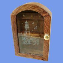**Maritimer Schlüsselkasten mit Glasfront- Leuchturmmotiv- Rahmen - Holz
