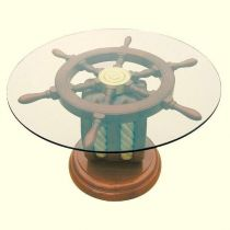 **Maritimer Tisch- Beistelltisch der besonderen Art- Holz und Glas  65cm