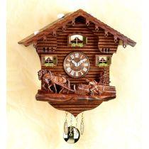 Original Schwarzwald-Pferde und Bauer- Kuckucksuhr mit Nachtabs - Cuckoo Clocks- Schwarzwald