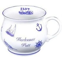 Porzellan- Tasse, Kaffeepott, Kugel-Becher - Borkum- maritim -deutsches Produktdesign