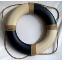 **Rettungsring blau/creme, Styropor bemalt,  36cm, Antikdesign