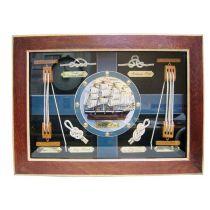 *Sehr dekorative Knotentafel + Schiffsmodell + maritimen Accessoires
