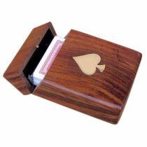 **Spielkarten in edler Holzbox mit Messingintarsien