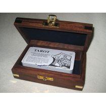 **Tarot- Kartenspiel in Holzbox mit Messingintarsien - sehr edel
